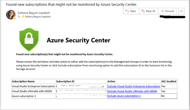 Image 1: Email Notification of subscription(s) assigned to Root Management Group