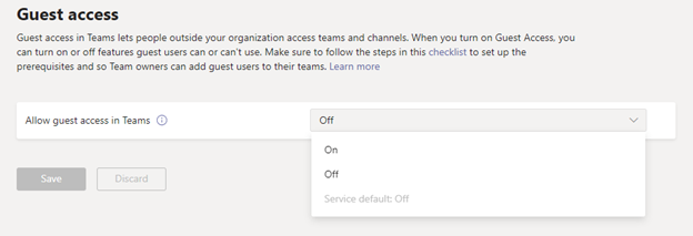"""A view of Teams admin center Guest access page, showing the choices for Guest access being """"Off"""", """"On"""", and """"Service default"""". Currently the service default is off but beginning February 8th the service default will be """"On""""."""