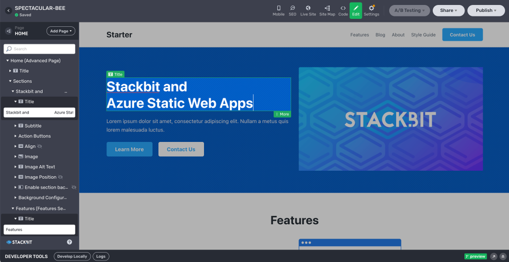 Design your site in the in-browser Stackbit Studio