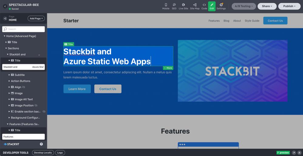 Design your site in the in-browser Stackbit Studio