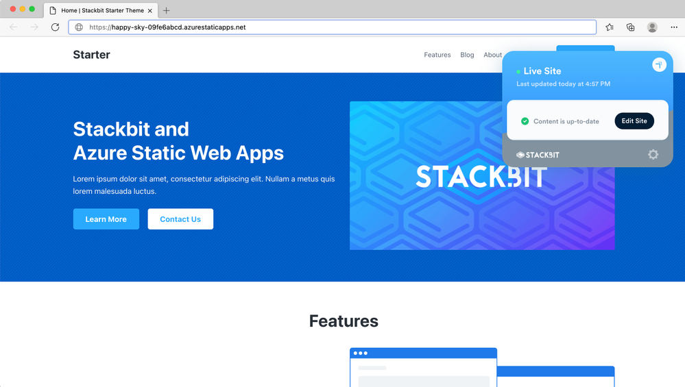 Your site is live on Azure Static Web Apps!