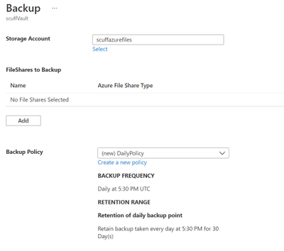 Azure file share backup default daily policy