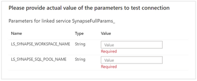 Parameter for the generic linked service