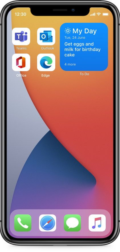 thumbnail image 2 of blog post titled   Microsoft To Do iOS 14 widgets are now available