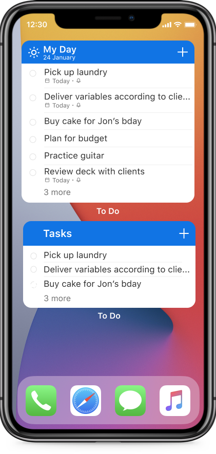 thumbnail image 1 of blog post titled   Microsoft To Do iOS 14 widgets are now available