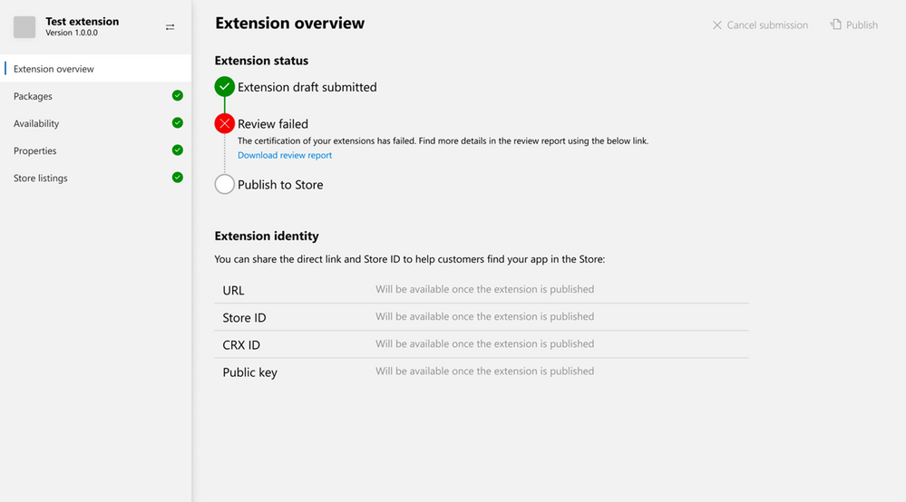 Download Microsoft Edge extension review report directly from Partner Center