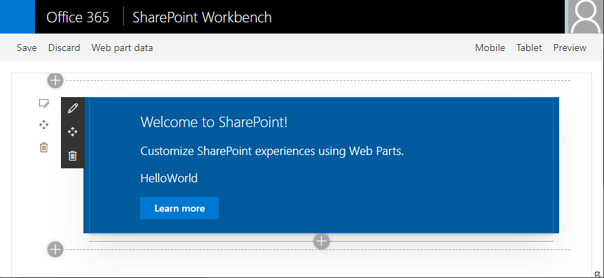 Use the workbench to run the webpart