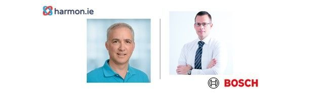Left-to-right: David Lavenda (Chief Product Officer | harmon.ie) and his customer, Daniel Stuch (Senior project lead – app dev | Bosch). [The Intrazone guests]
