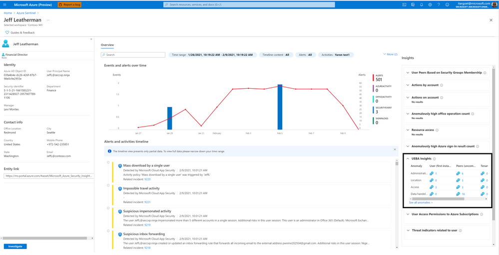 What's new: User and Entity Behavior Analytics (UEBA) insights in the entity page!