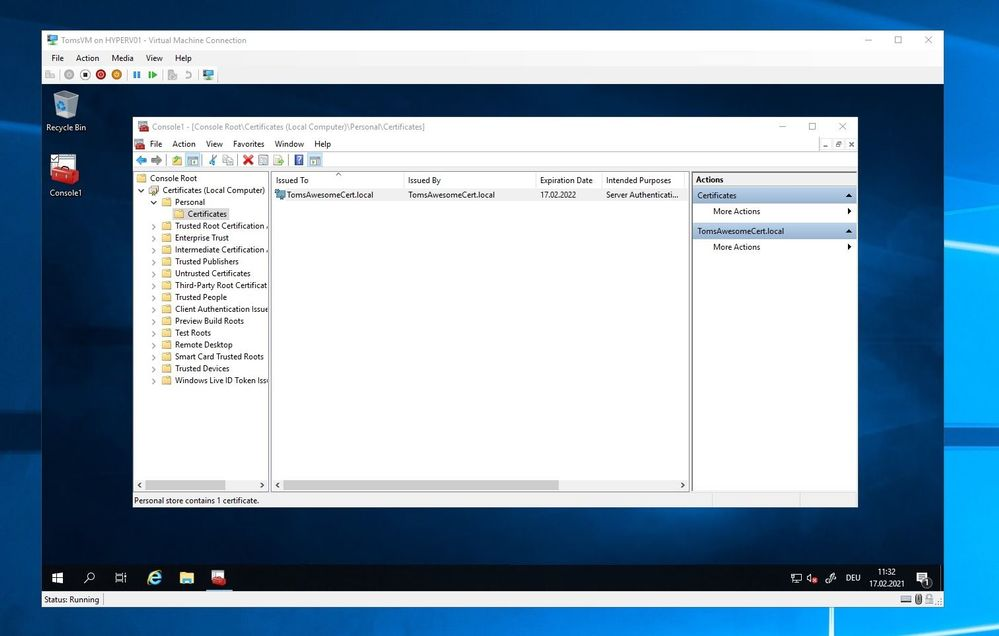 Certificate on local machine deployed by Azure Arc Key Vault extension