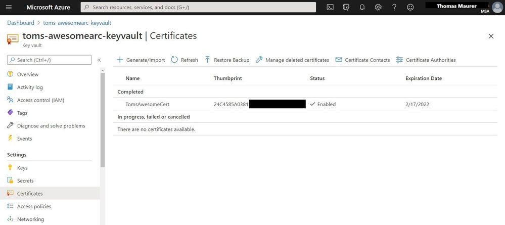 Certificate in Azure Key Vault