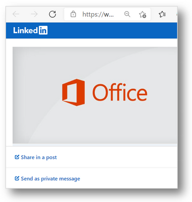 Sharing a Windows update history page article via LinkedIn