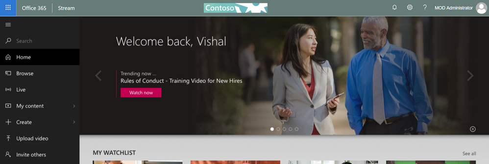 Stream side bar with O365 Header.png