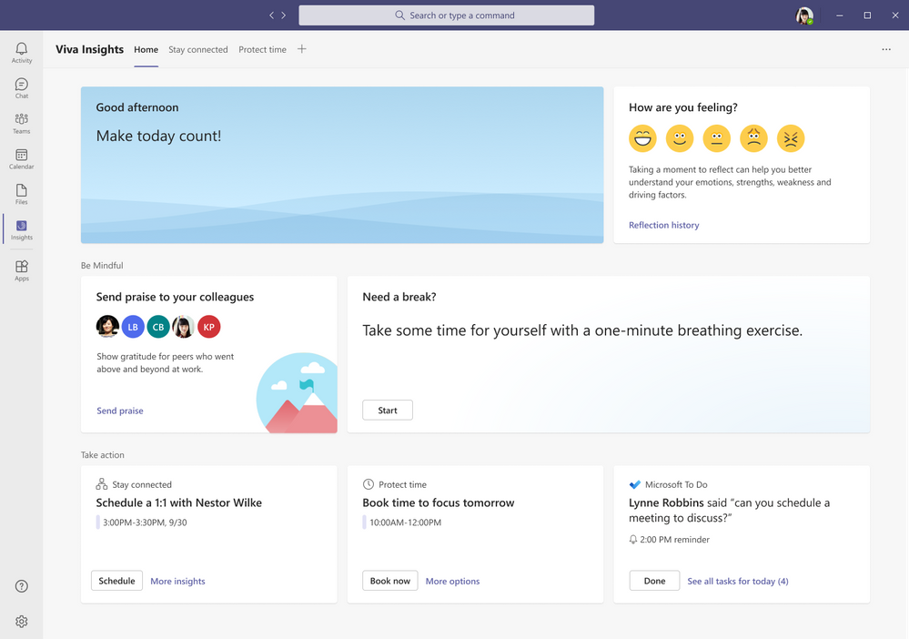 thumbnail image 2 of blog post titled  	 	 	  	 	 	 				 		 			 				 						 							Personal productivity and wellbeing - what's next with Microsoft Viva Insights