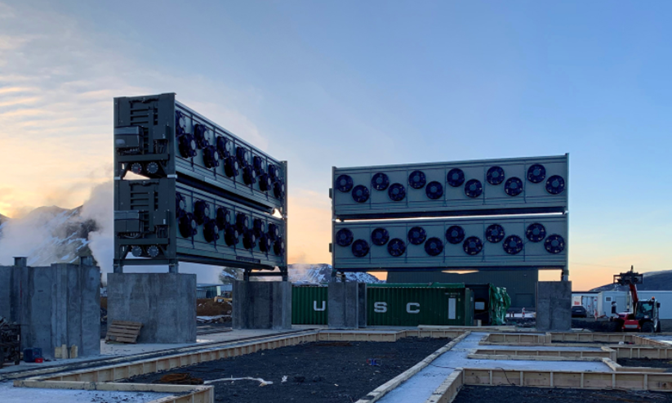 """Under construction: Climeworks' new large-scale direct air capture and storage plant, """"Orca."""" (Credit: Climeworks)"""