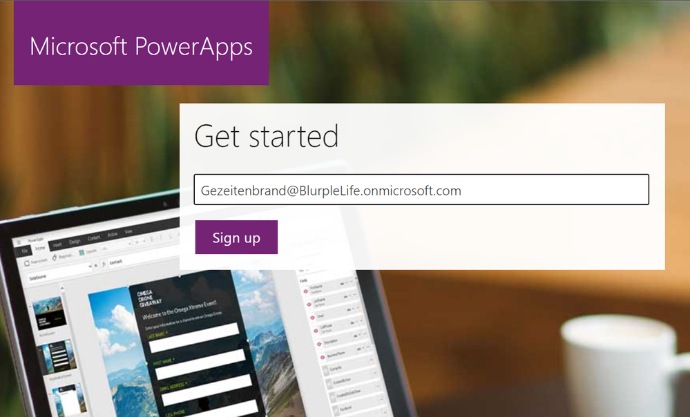 The sign in page of the Power Apps Community Plan