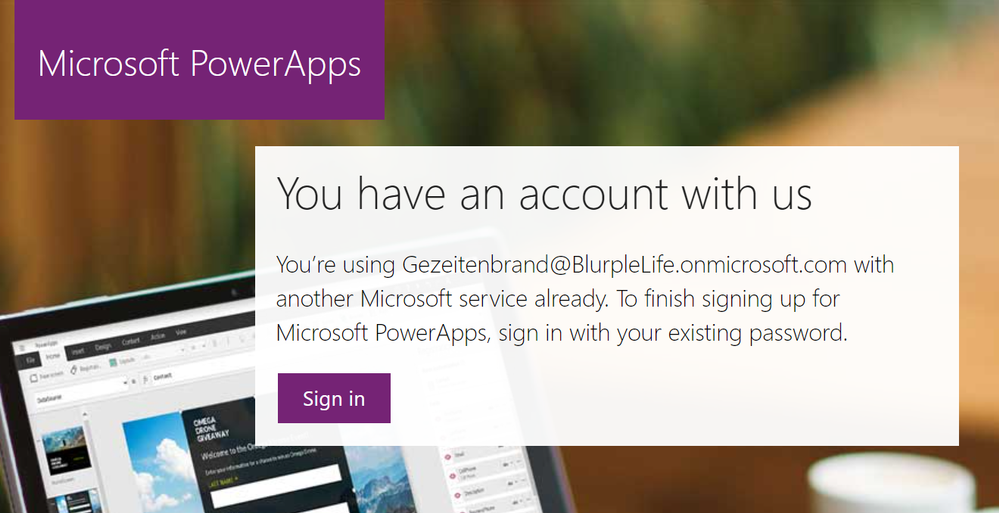 a pop up mentioning, that you already use the address for a Microsoft Service