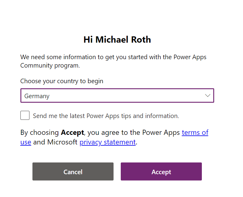 A pop up asking you to choose your country to begin.