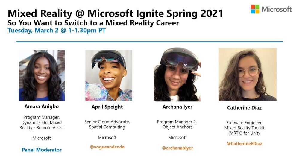 So You Want to Switch to a Mixed Reality Career Panel @ Microsoft Ignite 2021