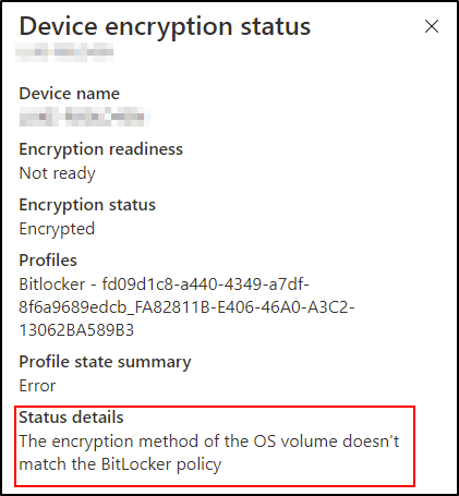 Scenario 4 – The device is in an error state but encrypted.