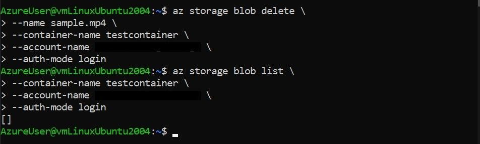 Delete blob with Azure CLI