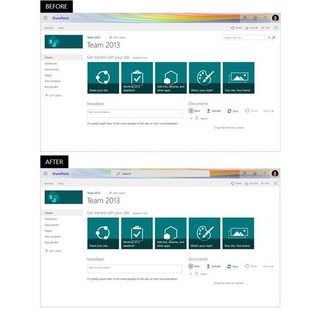 Classic SharePoint pages in Microsoft 365 will start using Microsoft Search, which provides personalized results with higher relevance. Top show the classic search experience – note the top-right search box, and the bottom shows a classic site using Microsoft Search – the search box at the center top.