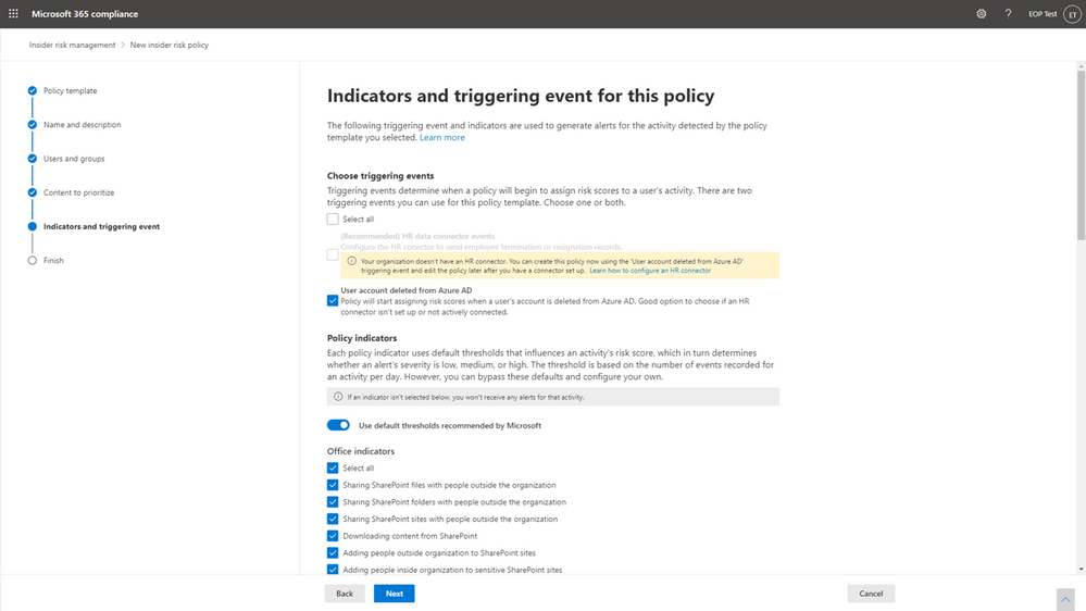 Insider Risk Management policy configuration page