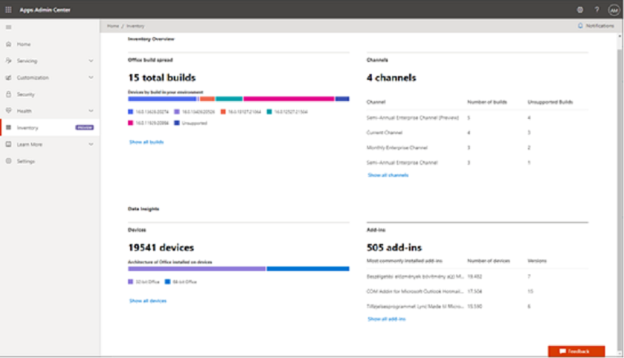Inventory overview in Microsoft 365 Apps admin center