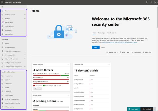 Figure 1: The new Microsoft 365 Defender portal