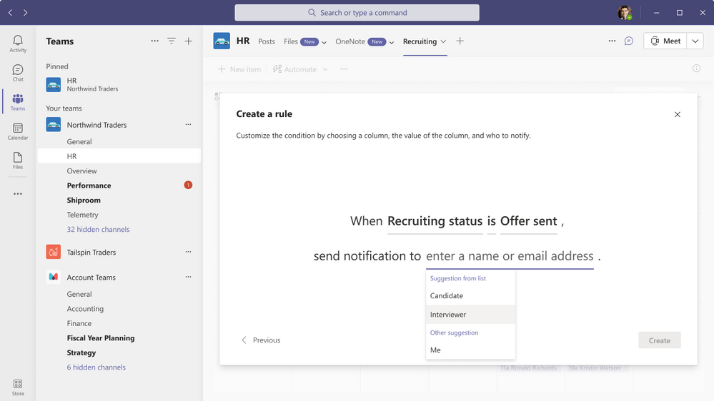Build helpful list rules to notify yourself and others when information changes - now available inside Microsoft Teams.