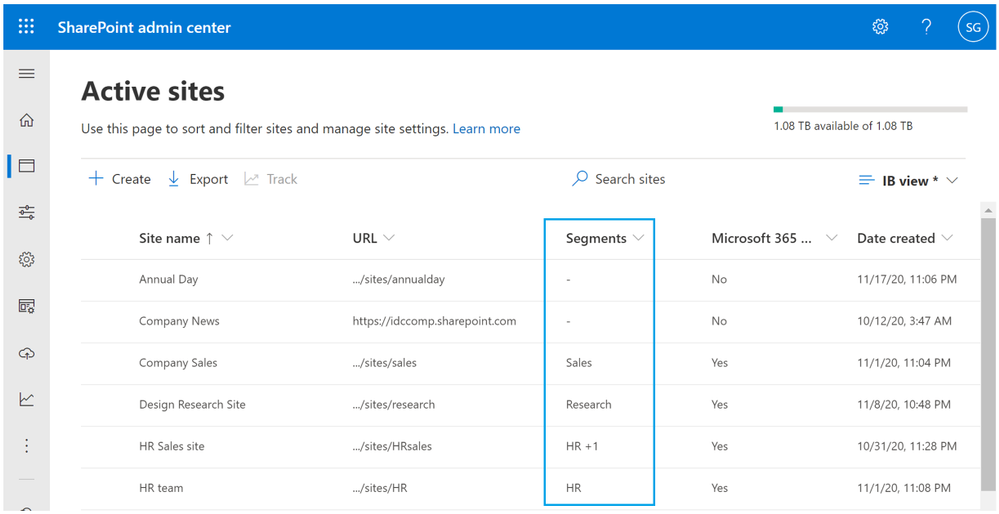 Figure. Managing information segments associated with SharePoint sites in SharePoint admin center