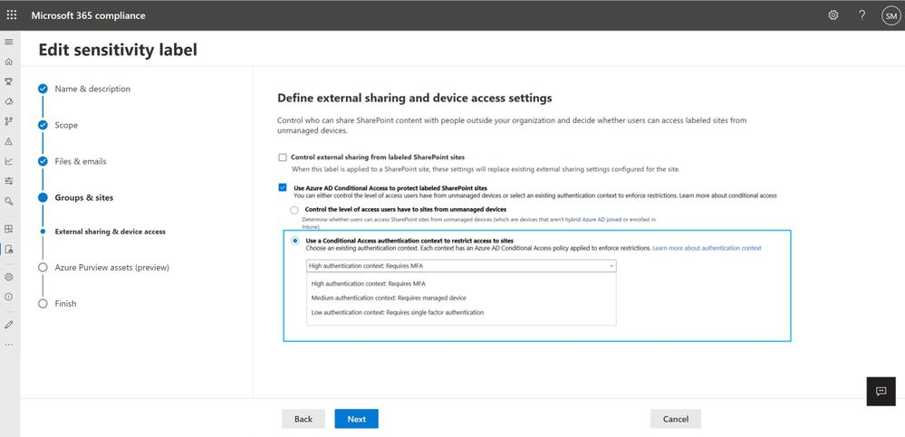 Figure. Configuring sensitivity labels with granular conditional access policies in Microsoft 365 Compliance Center and secure SharePoint sites
