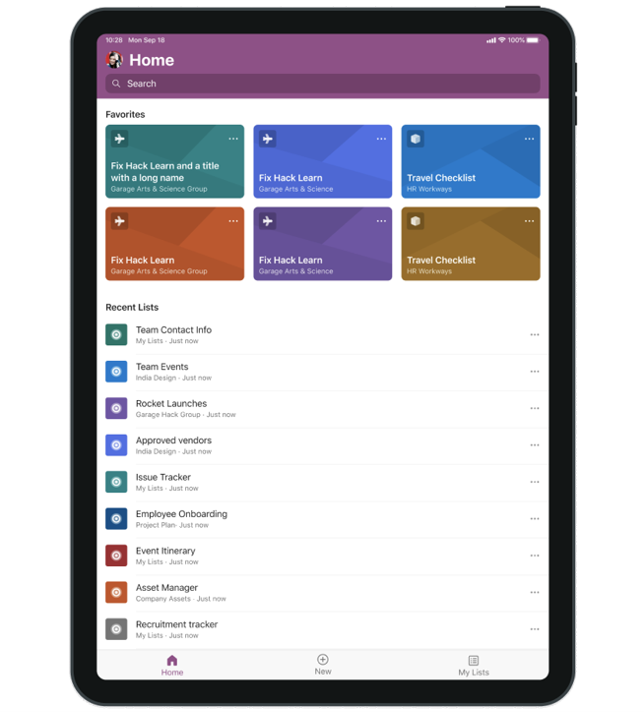 Microsoft Lists for iOS on an iPad, showing the main home screen with Search, Favorites and Recent lists.