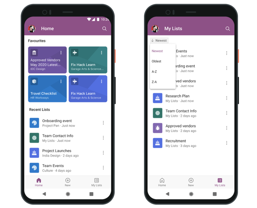 Microsoft Lists for Android - early design mockup of the Home and the My Lists screens – subject to change.