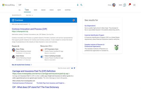 Topic answers in Microsoft Bing