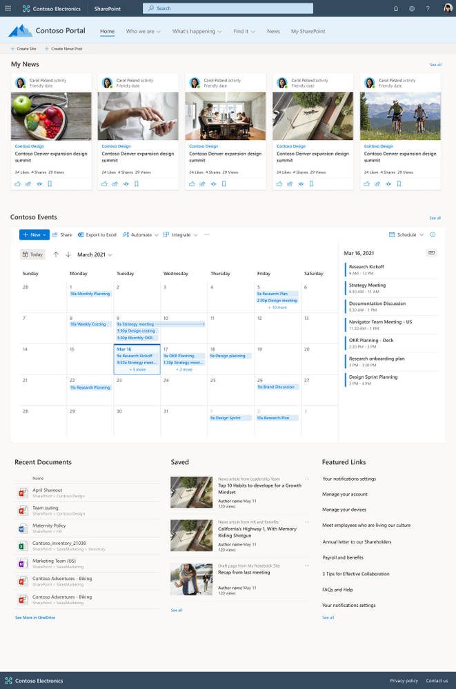 The SharePoint List web part showing a calendar view within a SharePoint communication site home page in Microsoft 365.