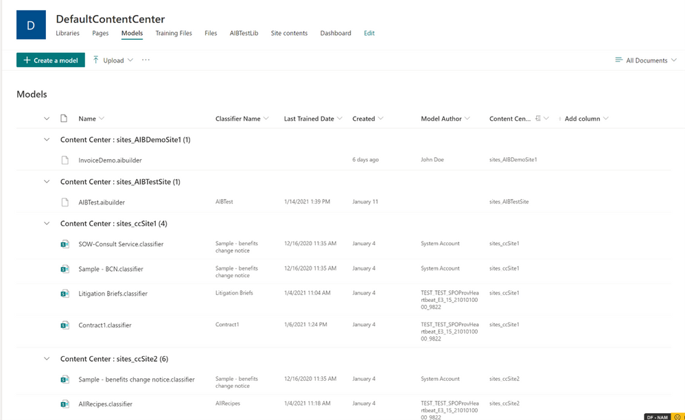 VIew models from multiple content centers