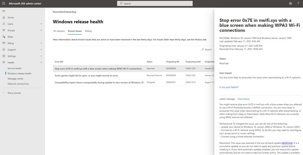 Windows release health as a new menu item