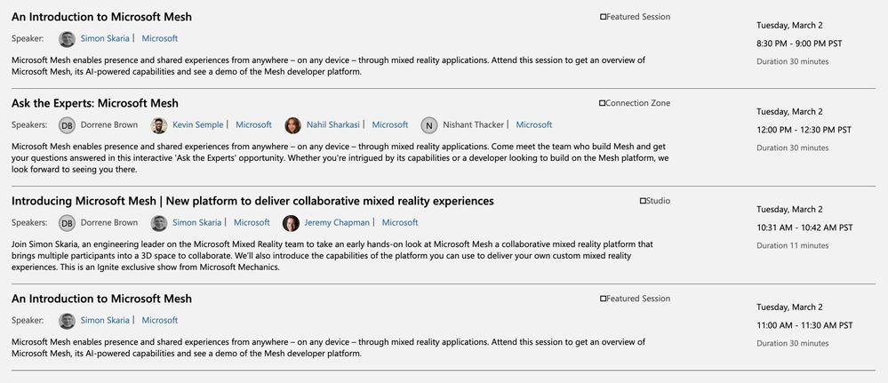 Microsoft Mesh mixed reality sessions