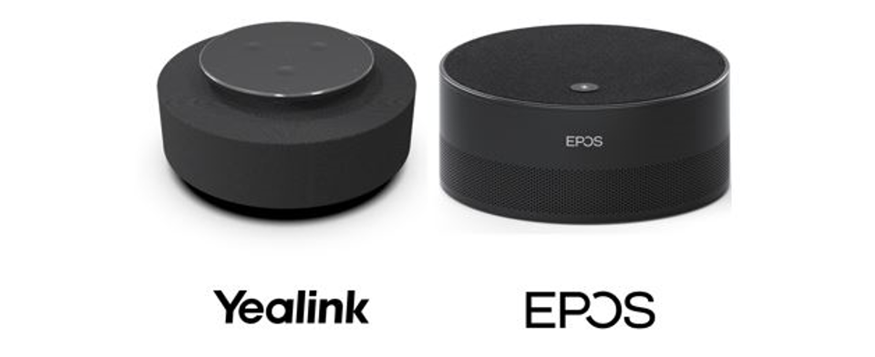 """Image Description: Image of two black cylinder-shaped Intelligent speakers side by side. Left speaker with the """"Yealink"""" logo underneath, and right speaker with EPOS logo underneath."""