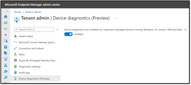 Screenshot of the Device diagnostics (Preview) feature in the MEM admin center