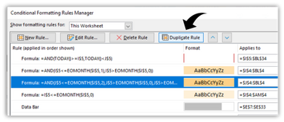 Screen shot showing the new Duplicate Rule button in the Conditional Formatting Rules Manager dialog.