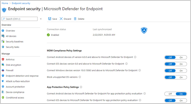 Microsoft Defender for Endpoint connector status settings in the MEM admin center