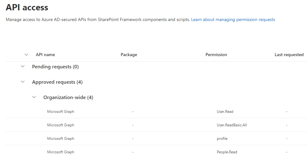 (other Graph API permissions displayed here won't be necessary for the sample)