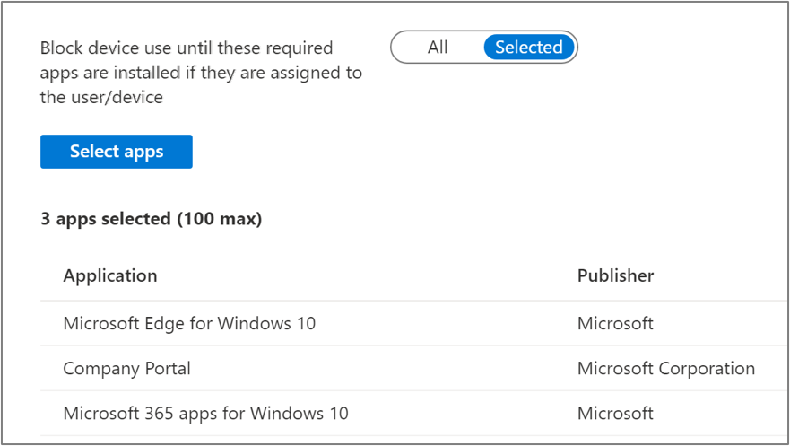 Screenshot of the Block device use until all required apps are installed toggle and Application list