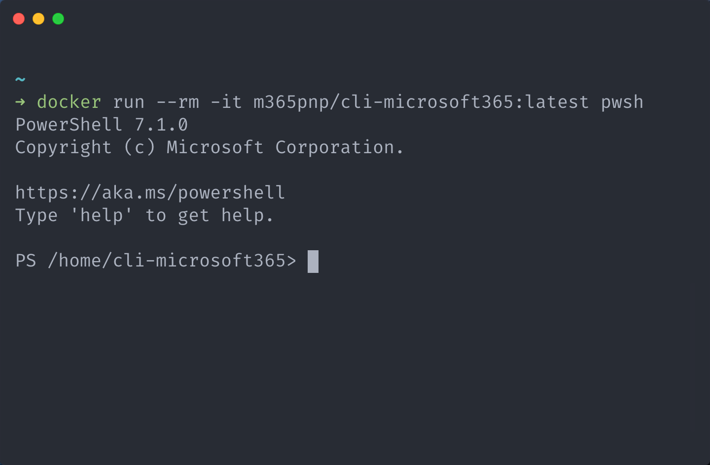 Run CLI for Microsoft 20 in Docker