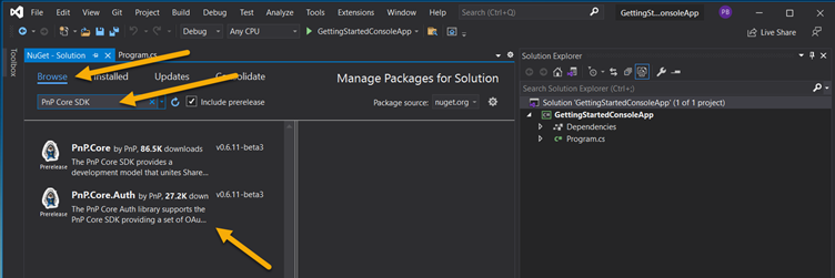 Find the PnP Core SDK NuGet packages