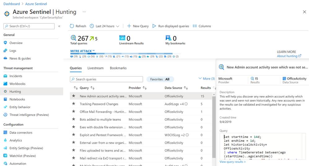 Azure Sentinel run displayed queries