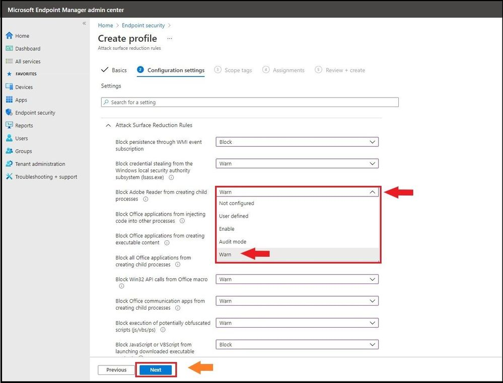 Selecting Warn Mode for the ASR Rule Policy