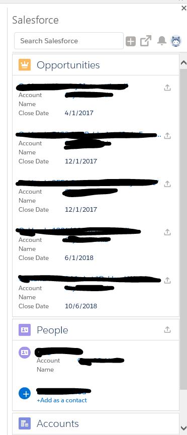 Salesforce Lightning for Outlook Side Panel
